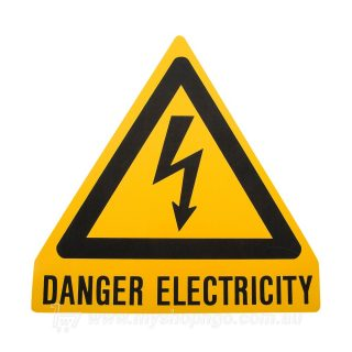 Danger Electricity Triangle Label