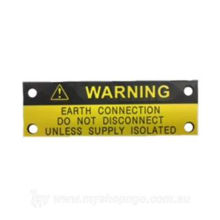 Earth connection warning label