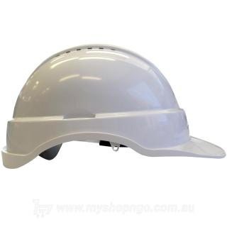 Long Peak Vented White Hard Hat
